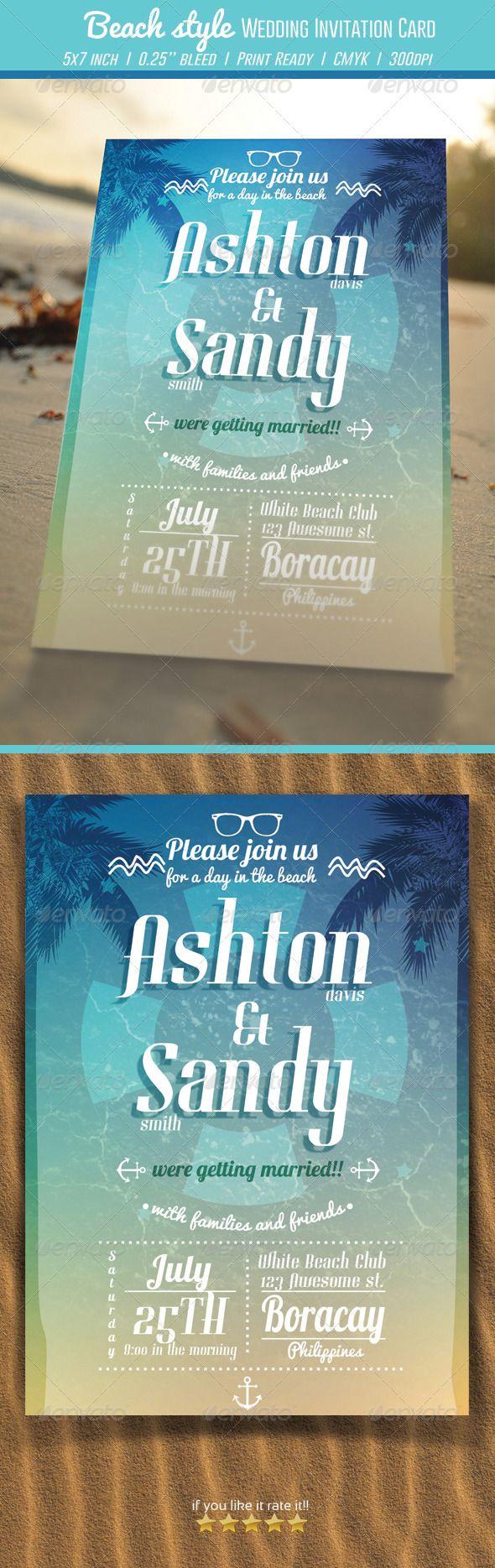 beach wedding invitation samples%0A Beach Style Wedding Invitation Card