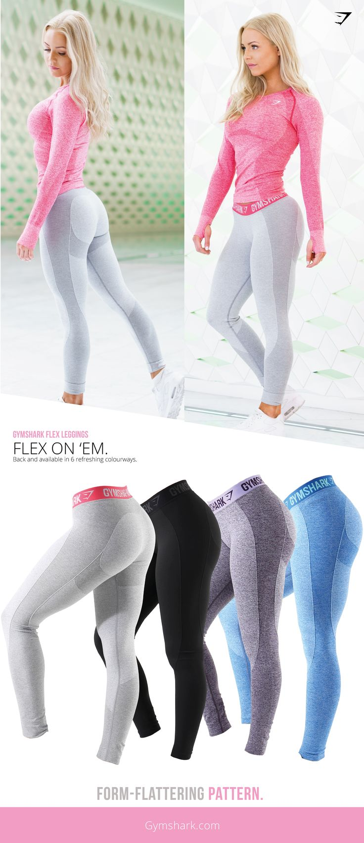 Flex on 'Em. Form hugging and figure flattering, the Gymshark Flex Leggings combine our seamless knit with beautiful design. Available in six colourways. (Fitness Clothes)