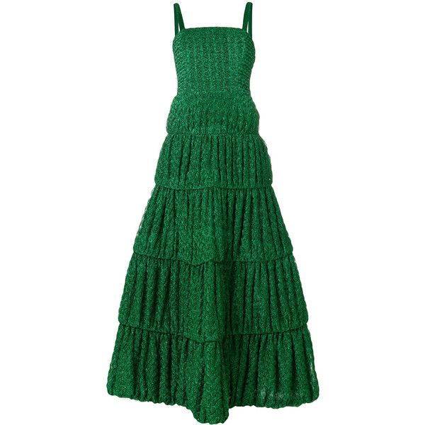 Missoni embroidered flared dress ($4,000) ❤ liked on Polyvore featuring dresses, green, long circle skirt, long flared skirt, flared skirts, embroidery dresses and flared skirt dress