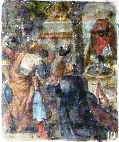 Le dixième tableau montre un prince portant une couronne, accompagné de soldats en armes. Il est en prières devant la châsse de saint Jacques que l'on voit resplendir au-dessus de l'autel. Un moine à genoux est en prières à côté du prince. Un enfant est allongé sur le sol. Sous le porche de la chapelle, un chien regarde la scène et l'on aperçoit à l'extérieur une maison et la mère qui ramasse l'enfant tombé dans la fontaine.