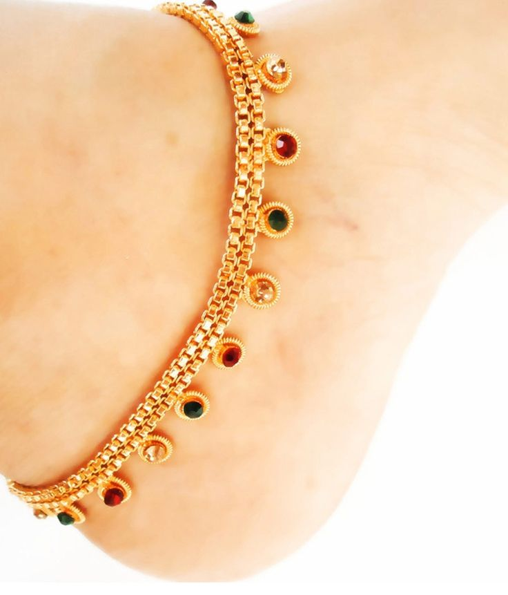 Rituals Multicolour Cz Diamond Gold Plated Anklets, http://www.snapdeal.com/product/rituals-multicolour-cz-diamond-gold/986472512