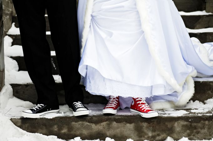 Bride and groom wearing their customized Converse high tops by @chantalbenoit | Two Bright Lights :: Blog