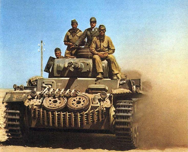German World War 2 Colour Afrika Korps Commanding Panzer III Tank
