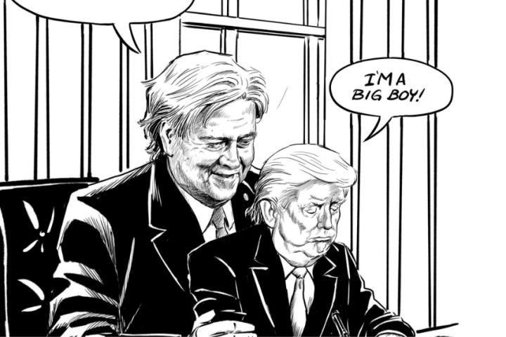 Een cartoon van de Canadese cartoonist Pia Guerra over Trump gaat de wereld rond. 'Dit had ik niet verwacht, maar ik ben wel blij dat mijn werk aanzet tot ...