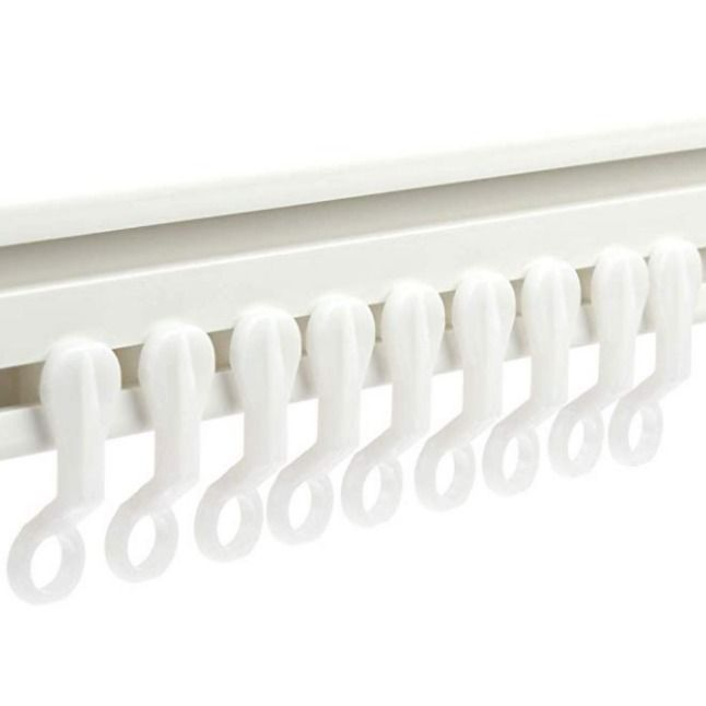 H S Curtain Glider Hooks 50pcs Plastic White Curtain Rail Track Gliders Plastic White Uk Product England