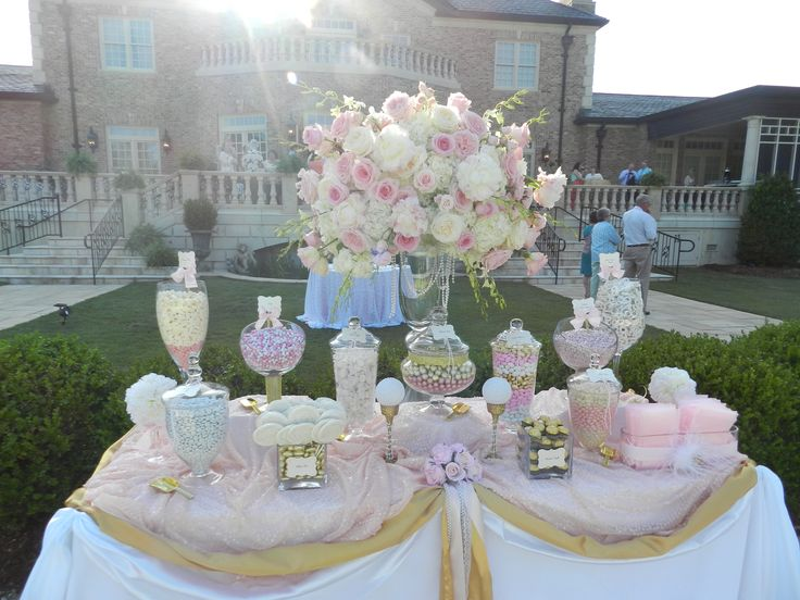 Blush Pink & Gold Candy Buffet/Candy Station by Sweet Jonesin Candy Buffets & Designs