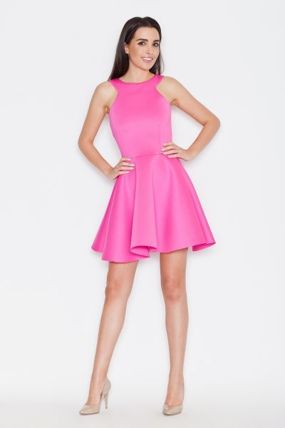 Sukienka rozkloszowana fuksja róż KT265