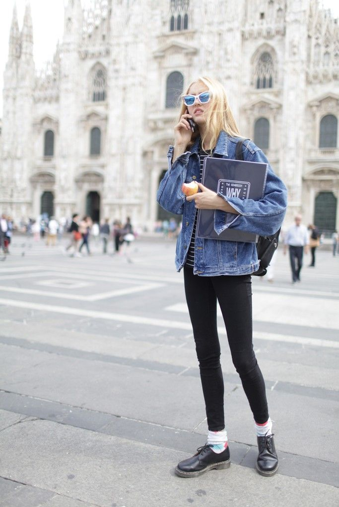 Reach for a blue denim jacket and black leggings to create a great weekend-ready look. Polish off the ensemble with black leather oxford shoes.  Shop this look for $76:  http://lookastic.com/women/looks/oxford-shoes-socks-leggings-crew-neck-t-shirt-denim-jacket-sunglasses-backpack/5748  — Black Leather Oxford Shoes  — White Print Socks  — Black Leggings  — Black and White Horizontal Striped Crew-neck T-shirt  — Blue Denim Jacket  — Blue Sunglasses  — Black Leather Backpack