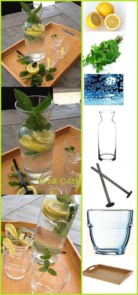 Heerlijk gekoeld water met bubbels met schijfjes citroen en een mooie tak munt... #Water #Citroen #Munt #Karaf #Dienblad #OrcaCool --