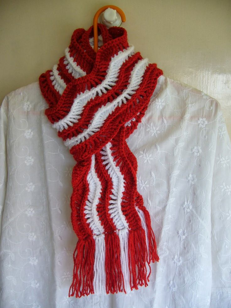 Crochet Red And White Ripple Scarf Crochet Infinity