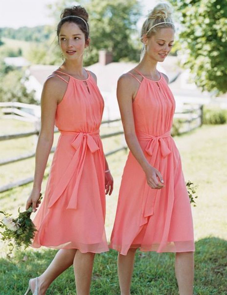 Find a Short Halter Coral Bridesmaid Dress Cheap Knee Length Chiffon Bridesmaid Dresses With Ribbon Short Bridesmaids Gowns Dress Online Shop For U !