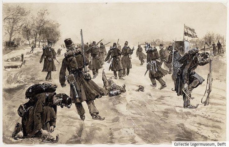 Uit de collectie van het Legermuseum. Ten tijde van de Oude Hollandse Waterlinie werden ook gewapende schaatsenrijders ingezet. Deze afbeelding is van 1895, maar het zal er ongeveer zo uit hebben gezien.