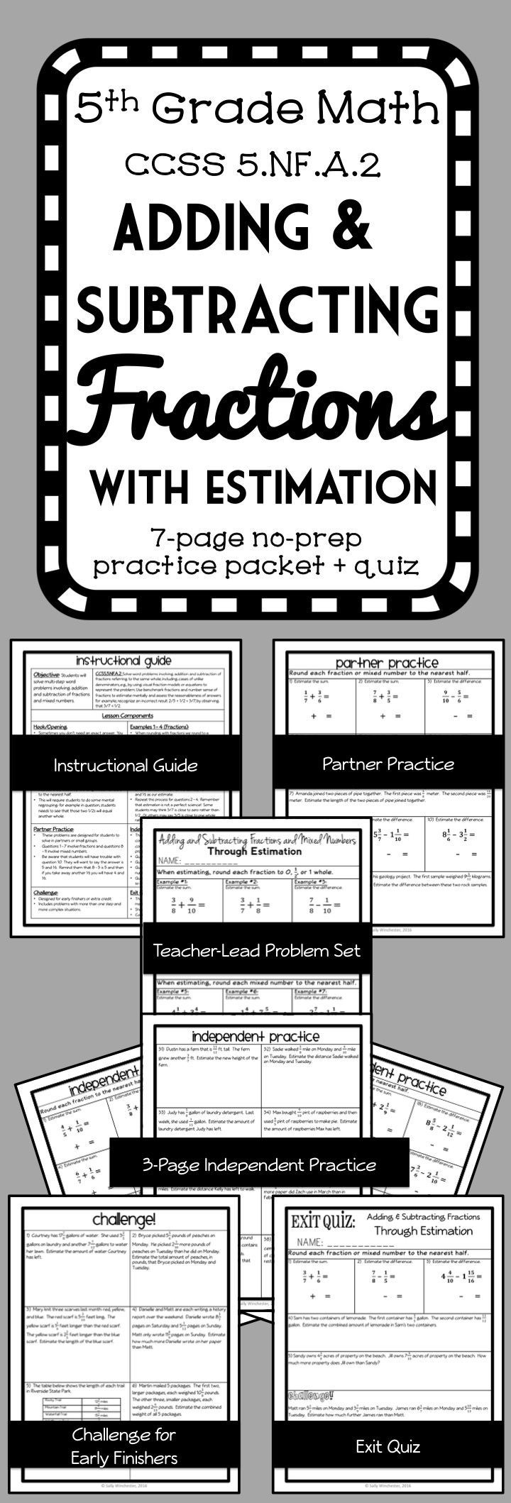 Estimating Fraction Sums and Differences, 8 page lesson packet, Using Benchmarks to Estimation Fraction Addition and Subtraction Problems.  Includes both fractions and mixed numbers in computation and word problems. Guided notes and exit quiz!