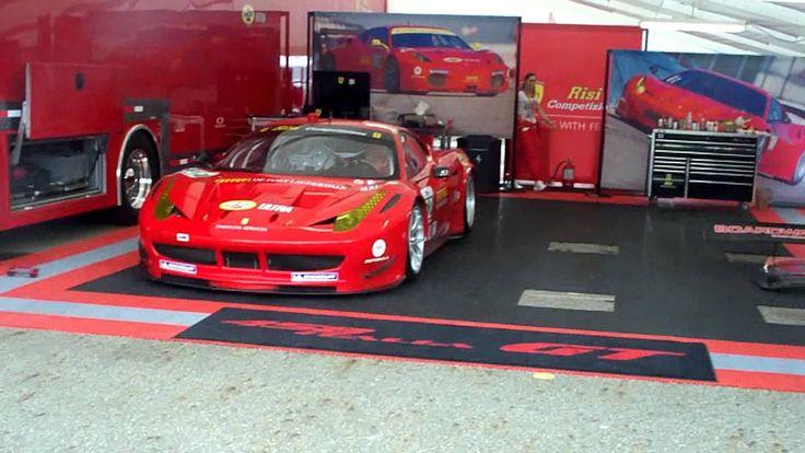 Ferrari 458 Italia. Race Car. Loud! Reving and driving away! Mid Ohio Au...