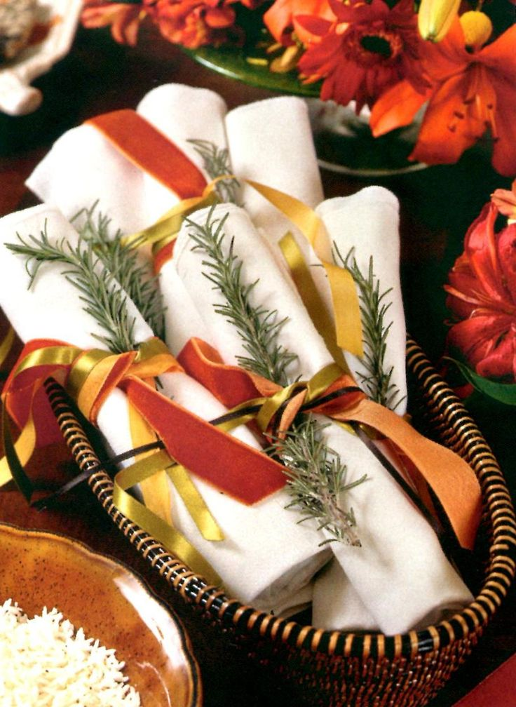 Velvet ribbons and rosemary wraps for your fall dinner party.