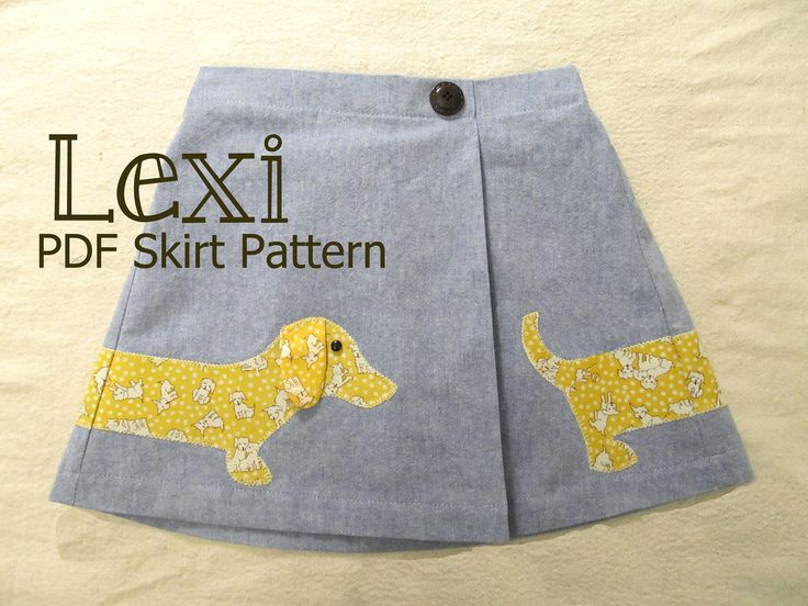 Lexi Side Pleat Skirt Cute Back to School pattern!!!    Meet Lexi, our jazzy little puppy dog pleated skirt. This skirt has a side pleat and button detail. The back has an elasticized waist for fit and comfort. The cutest puppy applique ever wraps all the way around the skirt making this pattern as cute and fun from the back as it is from the front. With some basic sewing skills, beginners are going to love this pattern. It's super easy! It's a great pattern for all levels of experience…