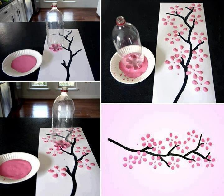 Super simple spring art project! Use various colors and multiple soda bottles.