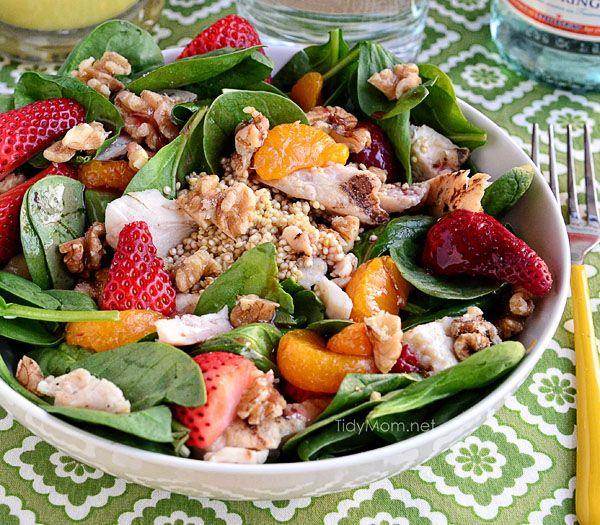 Strawberry Orange Spinach Salad with Quinoa at TidyMom.net
