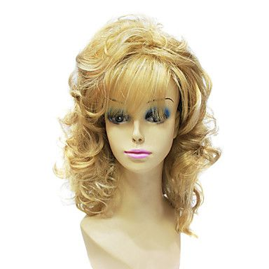 Capless High Quality Synthetic Janpanese Kanekalon Long Curly Mixed Color Sexy Party Hair Wig