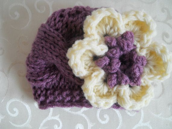 Baby Knit Hat  Baby Girl Knit Hat Purple and Cream by effybags, $19.50