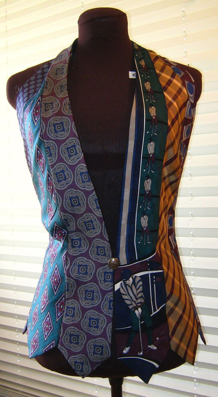 Women's Vest made entirely of Neckties in teal, plum, and gold. $50.00, via Etsy.- mens men's gentlemens gentlemen's neckties ties neck-ties refashion upcycle recycle clothing clothes