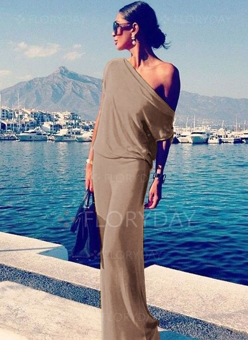 Dresses - $40.99 - Polyester Solid Short Sleeve Maxi Casual Dresses (1955112451)