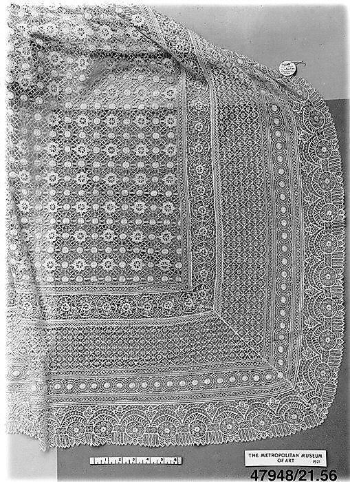 19th Century, French (Cluny), Bobbin Lace Shawl
