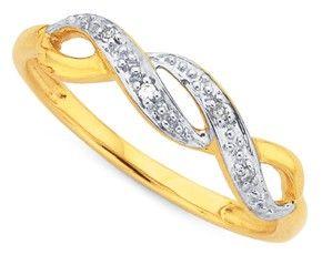 9ct Diamond Crossover Ring