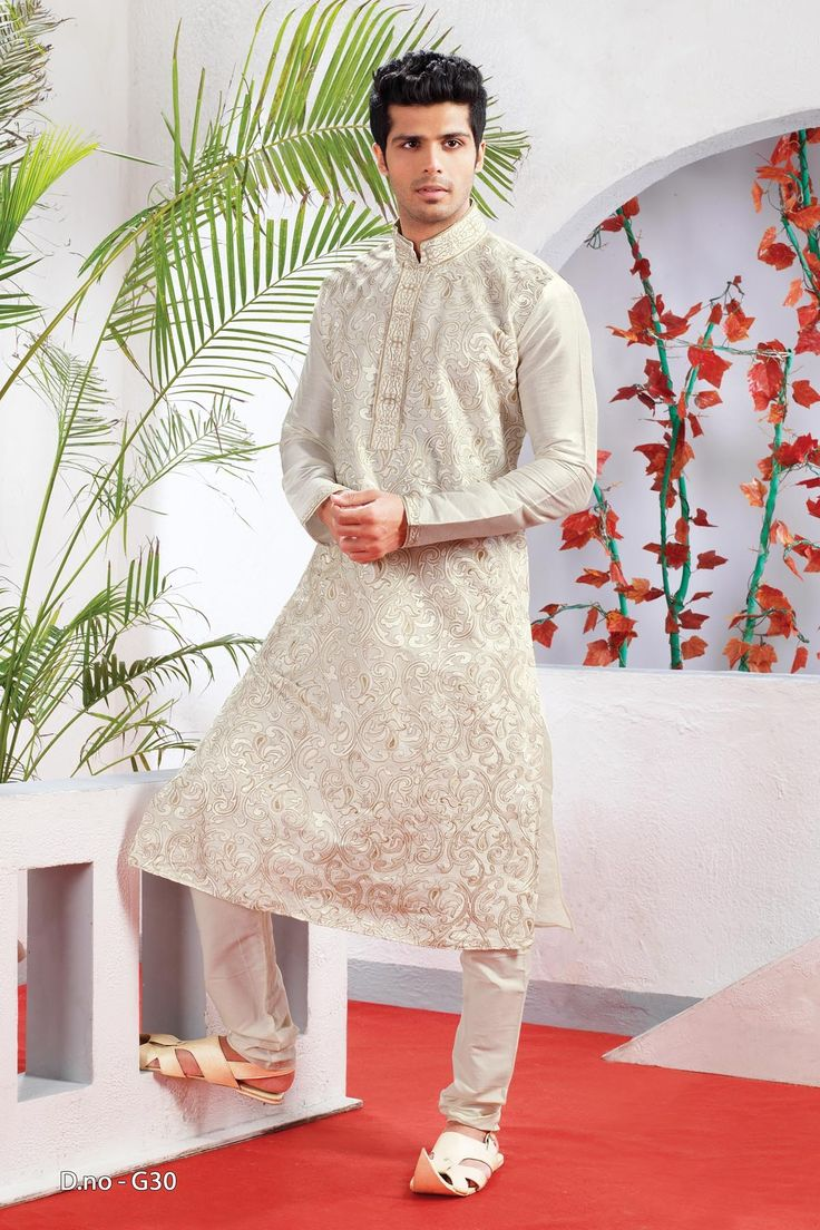 Off White Poly Dupion Readymade Kurta with Churidar  http://www.silk-india.com/en/82-kurta-pajama 61.99$  Now, place your Order now : Email:- raksha@silk-india.com