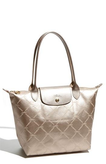 "Longchamp ""medium"" metallic shoulder bag in ""Pinky Gold"" $135"