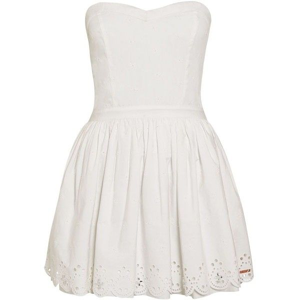Superdry 50`s Daisy Dress ($78) found on Polyvore featuring dresses, strapless dresses, white, women, white sleeveless dress, floral print dress, sleeveless skater dress, white sweetheart dress and white dress