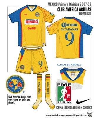 Club America Aguilas of Mexico home kit for 2007-08.