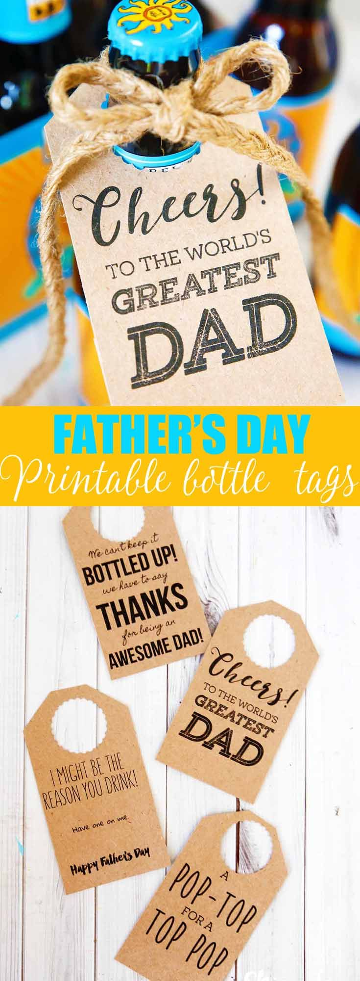 Free printable Father's Day gift tag to pair with his favorite bottled beer or soda.