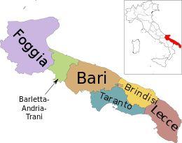 Mappa della regione Puglia con le sue province