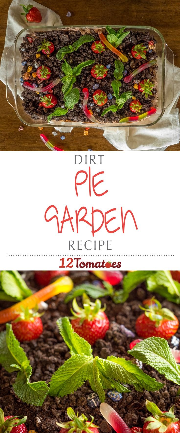 "Dirt Pie Garden | Whether it's referred to as ""Dirt and Worms Cake,"" or ""Mud Pie,"" we've all heard of some variation of it; made with instant pudding and crushed oreos, this dessert is great to make with kids, and once you see just how cute ours turned out, you and the little ones will be chomping at the bit to make this!"