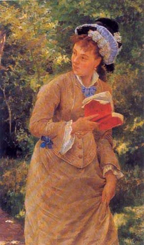 La lectura interrumpida. Pedro Lira (Chilean, 1846-1912).In 1865, he had begun training under Antonio Smith, a landscape artist who had left the Academia de Pintura because of disagreements with the classical training promoted there. Under the influence of Smith, Lira passed through his first stage of romantic paintings, mostly seen in his landscapes.