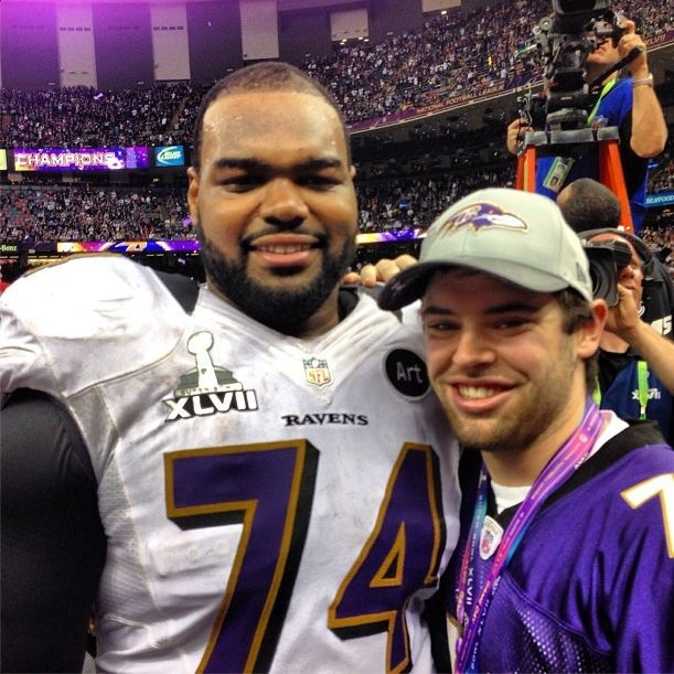 Baltimore Ravens offensive tackle Michael Oher (left) and his adoptive brother, Sean Tuohy Jr. following the Ravens' Super Bowl win over the San Francisco 49ers Sunday. Tuohy posted this photo to Instagram shortly after the game. (Photo: instagram.com/sjtuohy)