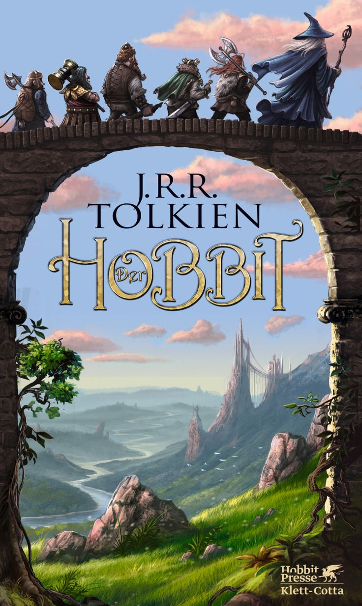 The Hobbit Old Book Cover ~ The hobbit j r tolkien german book cover middle