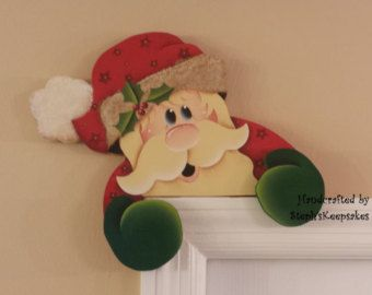 Hand painted  Wooden Santa Door Hanger, Chritmas Decor, Wall Art