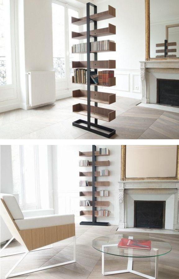 Freestanding divider wooden #bookcase SÉVERIN by Alex de Rouvray design