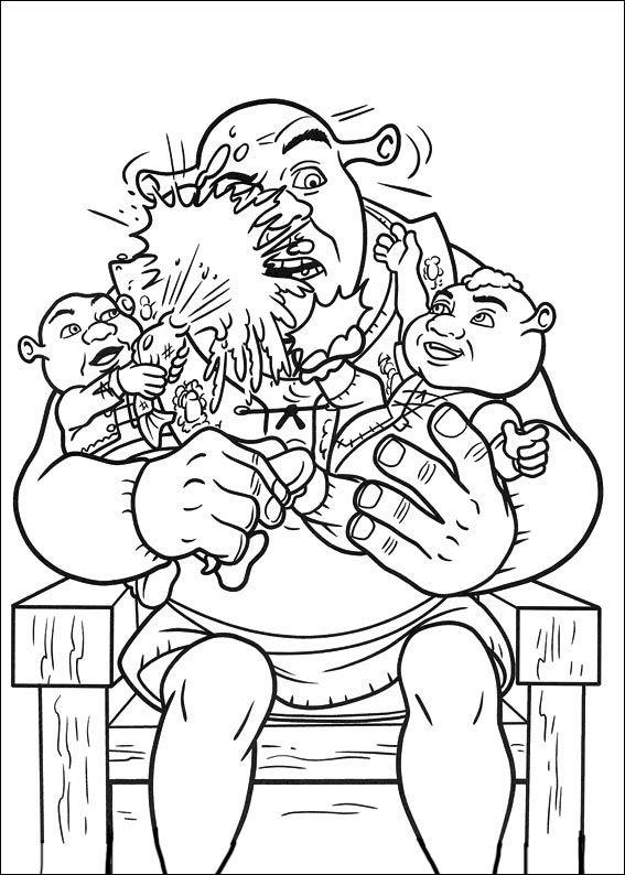 123 best malebog shrek images on pinterest shrek art for Shrek 4 coloring pages