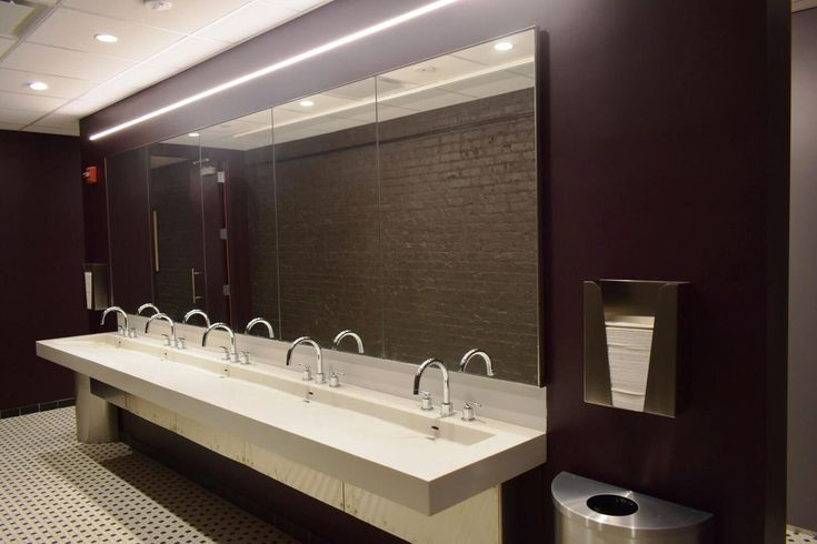 Neo-Metro SLAB-Edge™ Wall-Mounted Basin Installed at The Flea Theater in NYC. #nycinteriordesign #hospitalitydesign