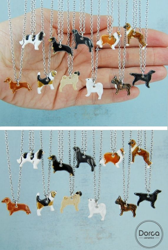 Mini ceramic dogs pendant necklace !!! Ideal gift for dog lovers!!!