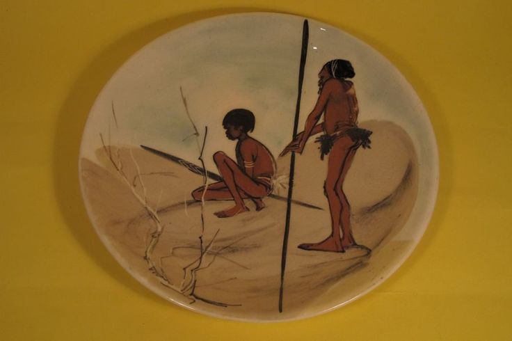 MARTIN BOYD POTTERY WALL PLATE - FATHER AND SON IN OUTBACK