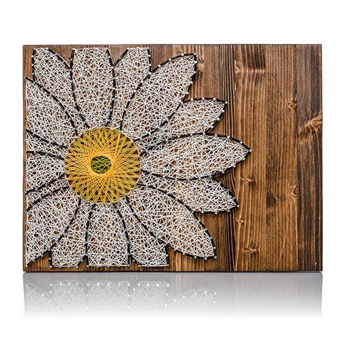 Create this wonderful Daisy String Art Kit! Great gift idea for those crafters you know. Or do-it-yourself for a friend. The DIY Kit's 16″ by 12″ wood board is HAND sanded and HAND stained dark walnut