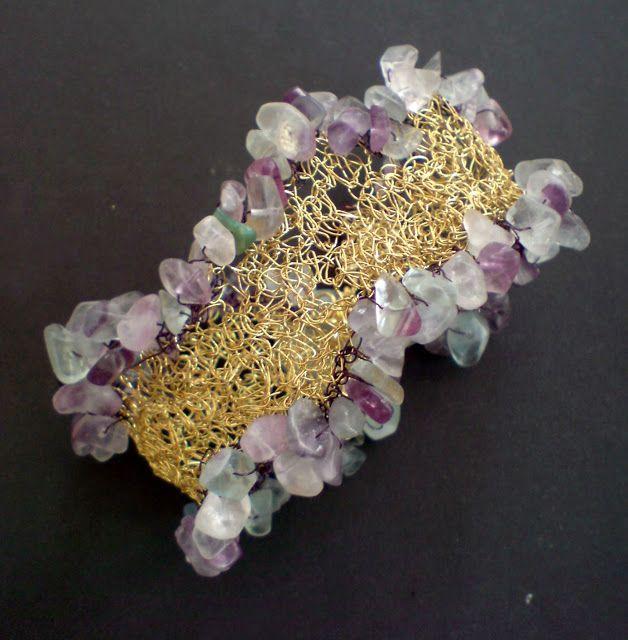 Handmade Wire crochet bracelet with semi precious stones
