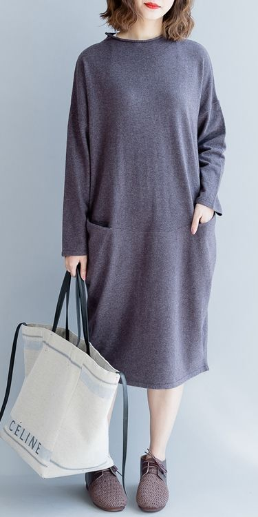 9ad9513674e3 CASUAL SOFT WOOL PURPLE DRESSES FOR WOMEN Q2492