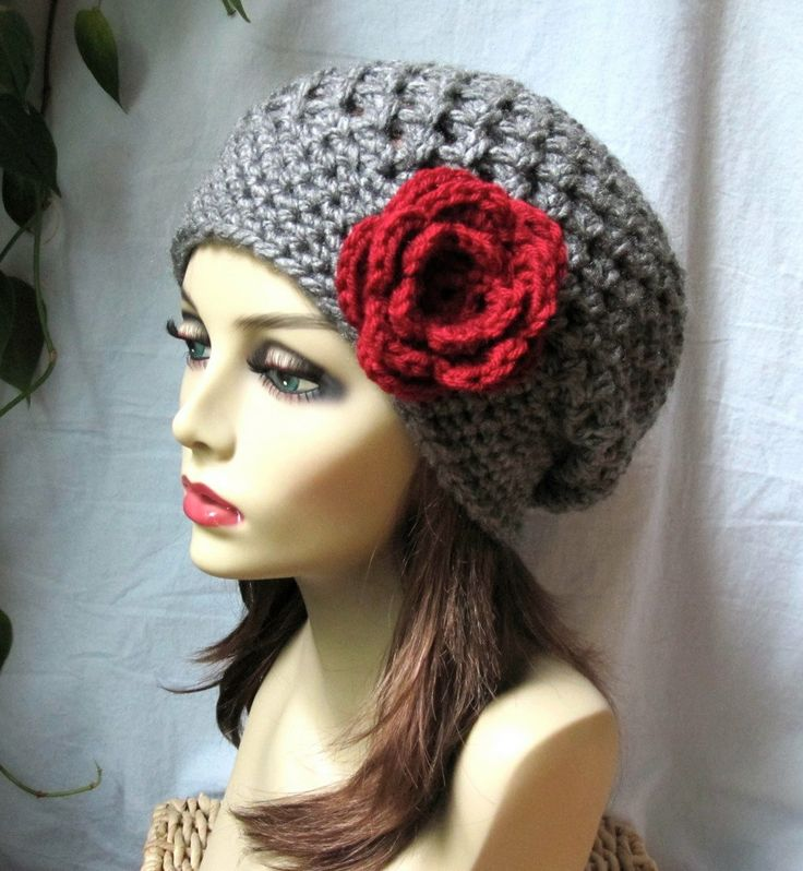 Charcoal Grey Red Womens Hat, Slouchy Beret, Ohio Buckeye