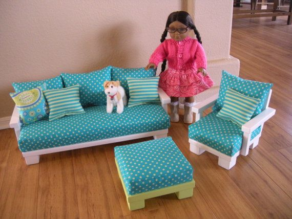 Doll Couch Chair Living Room Furniture For American Girl Doll Basic Starter Set With Ottoman