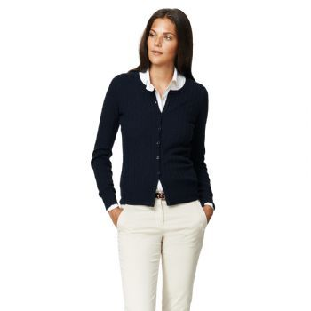 Gant Women's Stretch Lambswool Cable Cardigan Navy